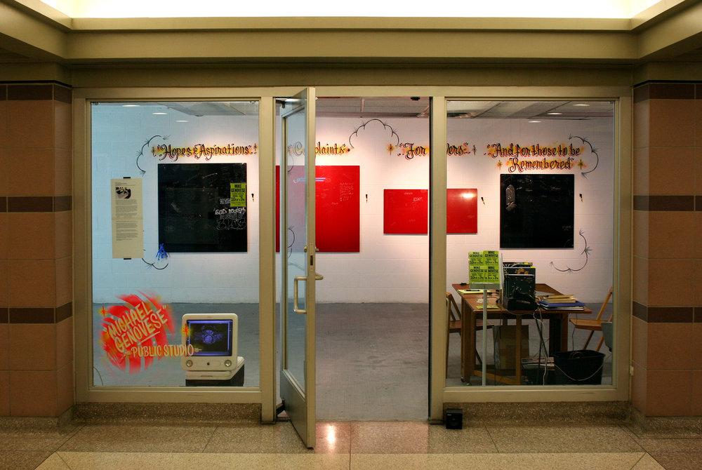 Installation view of studio entrance