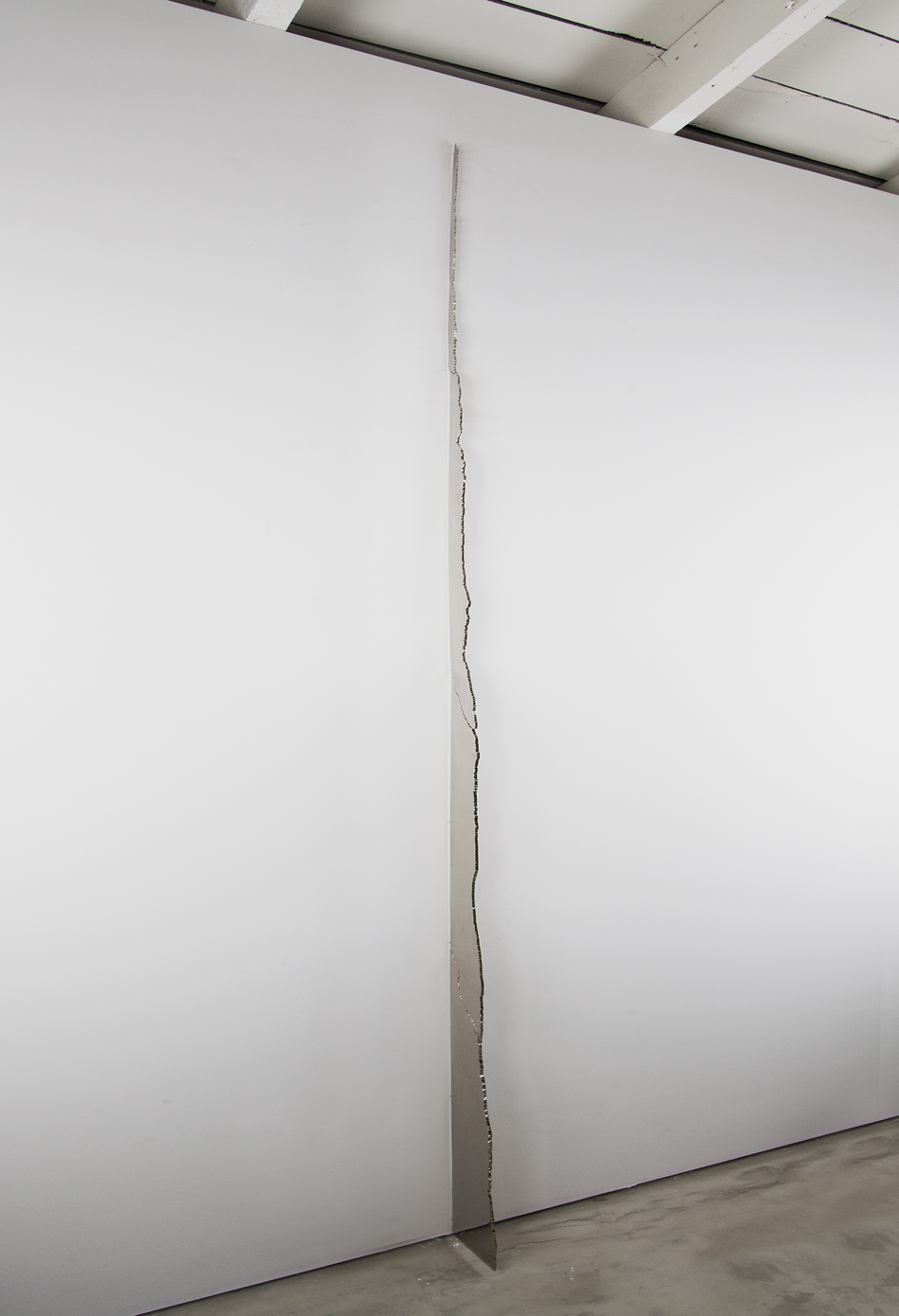 Seem, Seam from band, Nickel plated and mirror polished plasma cut steel, 8 X 120 inches, 2013