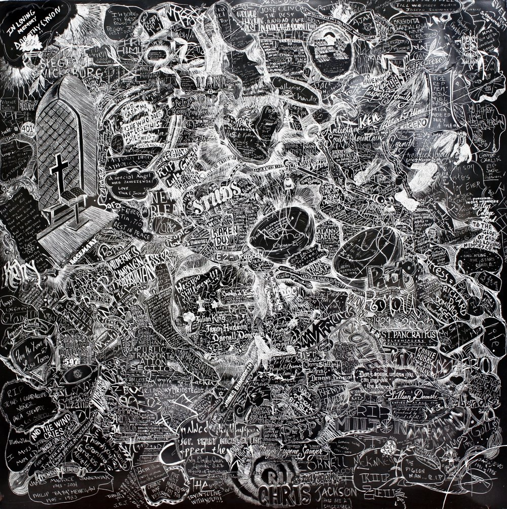 Eulogies, Chicago Cultural Center, Incised aluminum with baked enamel finish, 48 X 48 inches, 2008