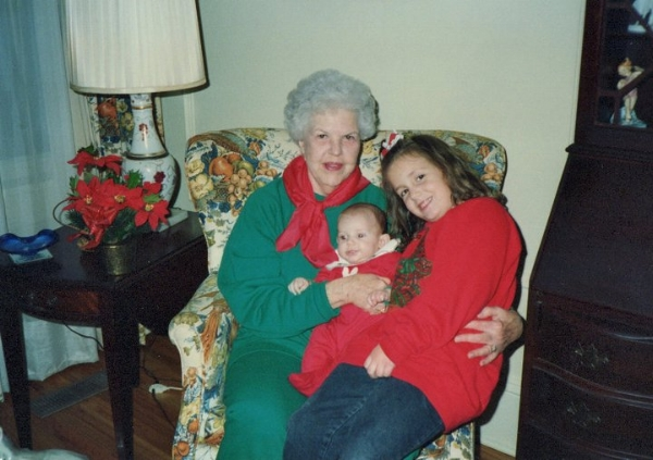 Aunt May with me and my baby sister Olivia.