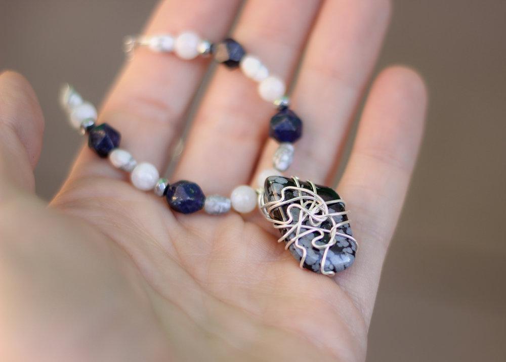 Divine Wisdom Necklace - Snowflake Obsidain