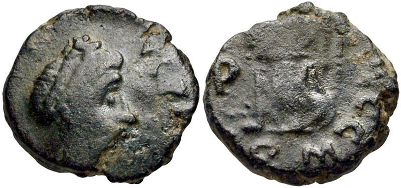 Based on styling similarities to the Lanz coin pictured at top, this AE4 had been attributed as Avitus despite lacking the left side of the legend.