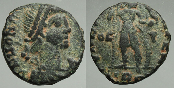 Another rare Honorius bronze, this AE3 dates to 410 and may have been actually issued by his rival, Visigothic king Alaric, in hopes of reaching a favorable deal.