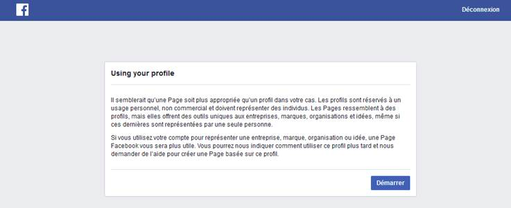 Exemple du message que Facebook risque de vous envoyer si vous créez un profil pour votre entreprise