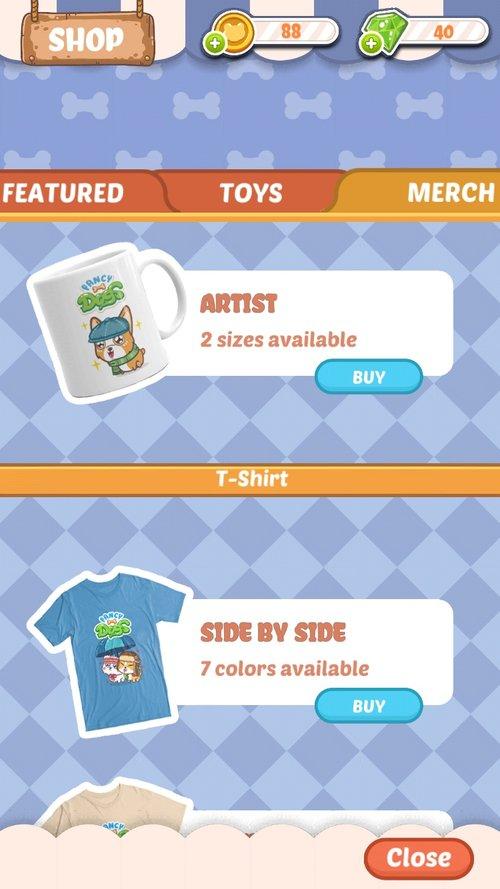Fancy Dogs in-game merchandise shop