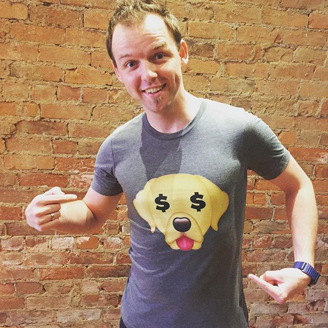 Andris, the CEO and the interviewee is excited to show his abs. Okay, it's about the LabMoji T-shirt made via TheMonetizr!