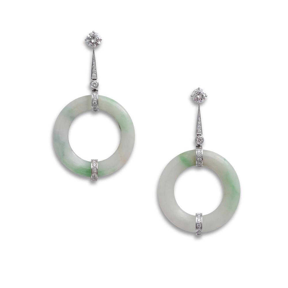 Jade disc drop earrings product shot