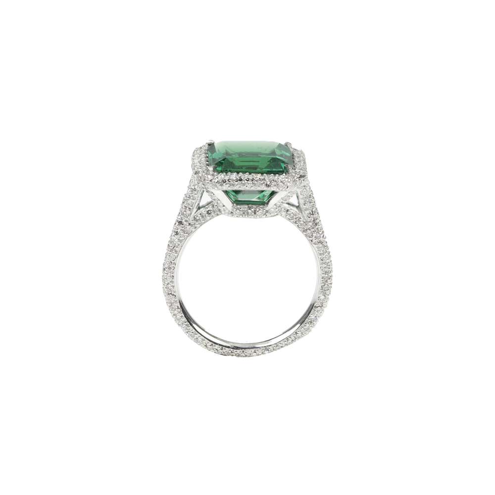 Emerald & Diamond Microset Ring Side