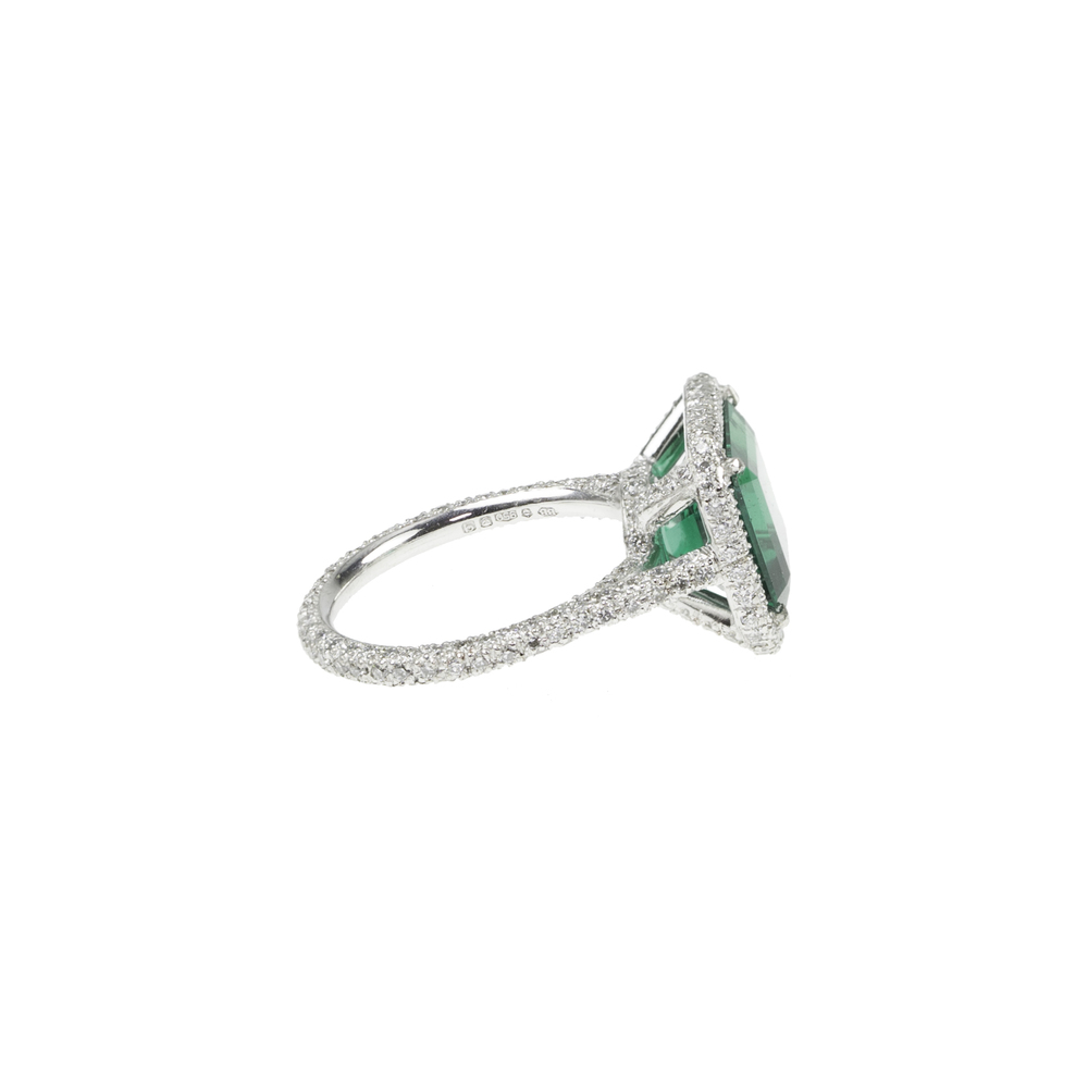 Emerald & Diamond Microset Ring