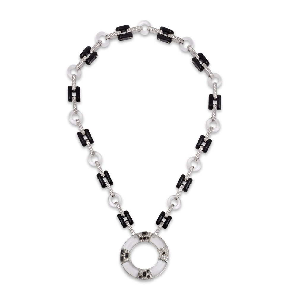 Onyx-rock-crystal-and-onyx-bespoke-necklace-with morse-code-disc.jpg