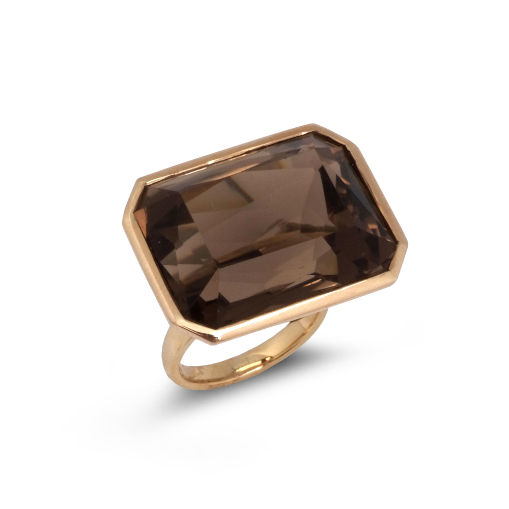 Step-cut smoky quartz ring