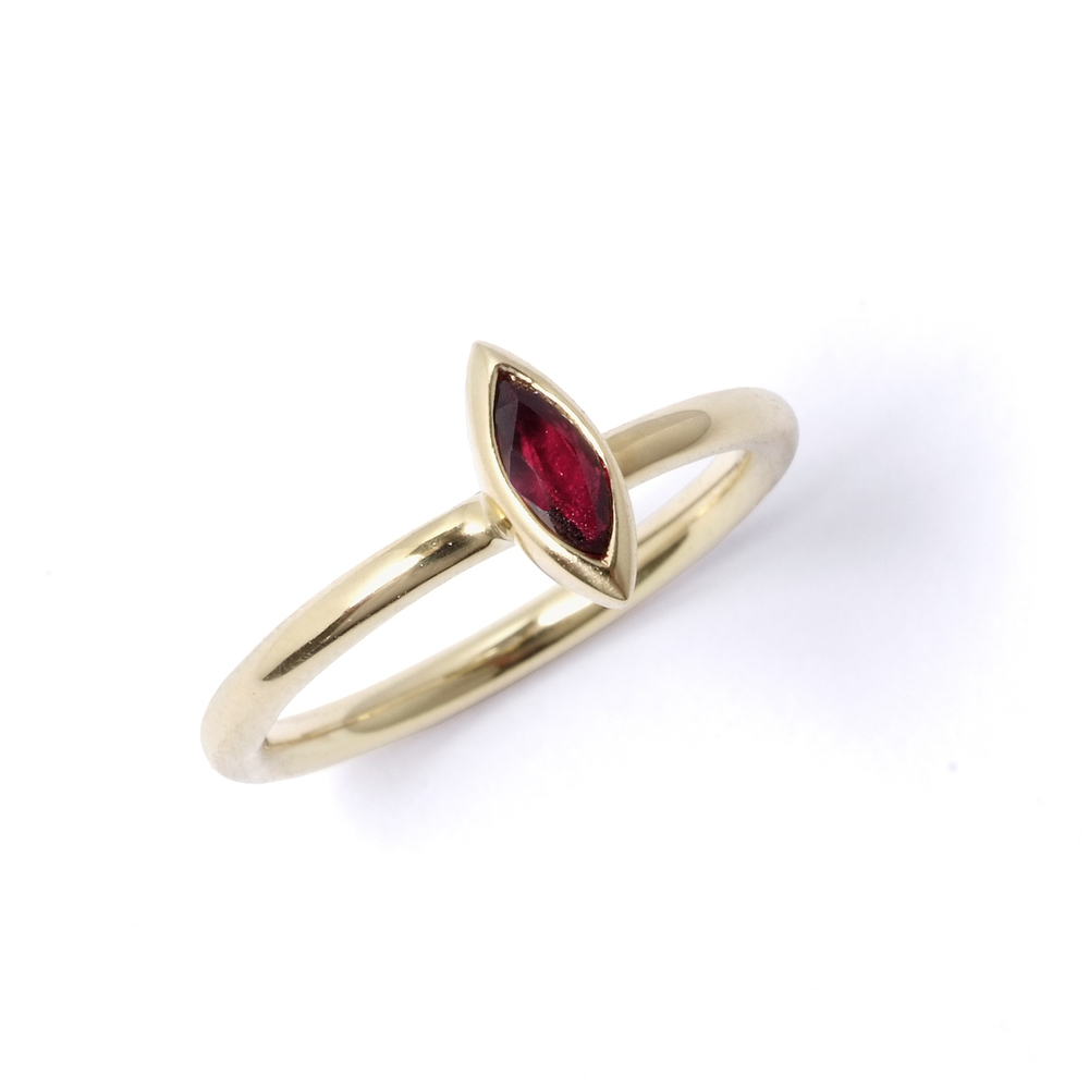 Satellite ruby stacking ring