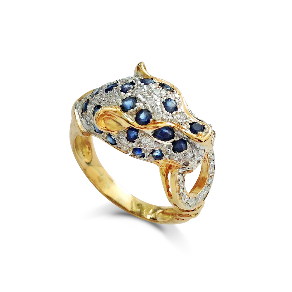 Vintage sapphire and diamond-set panther head ring