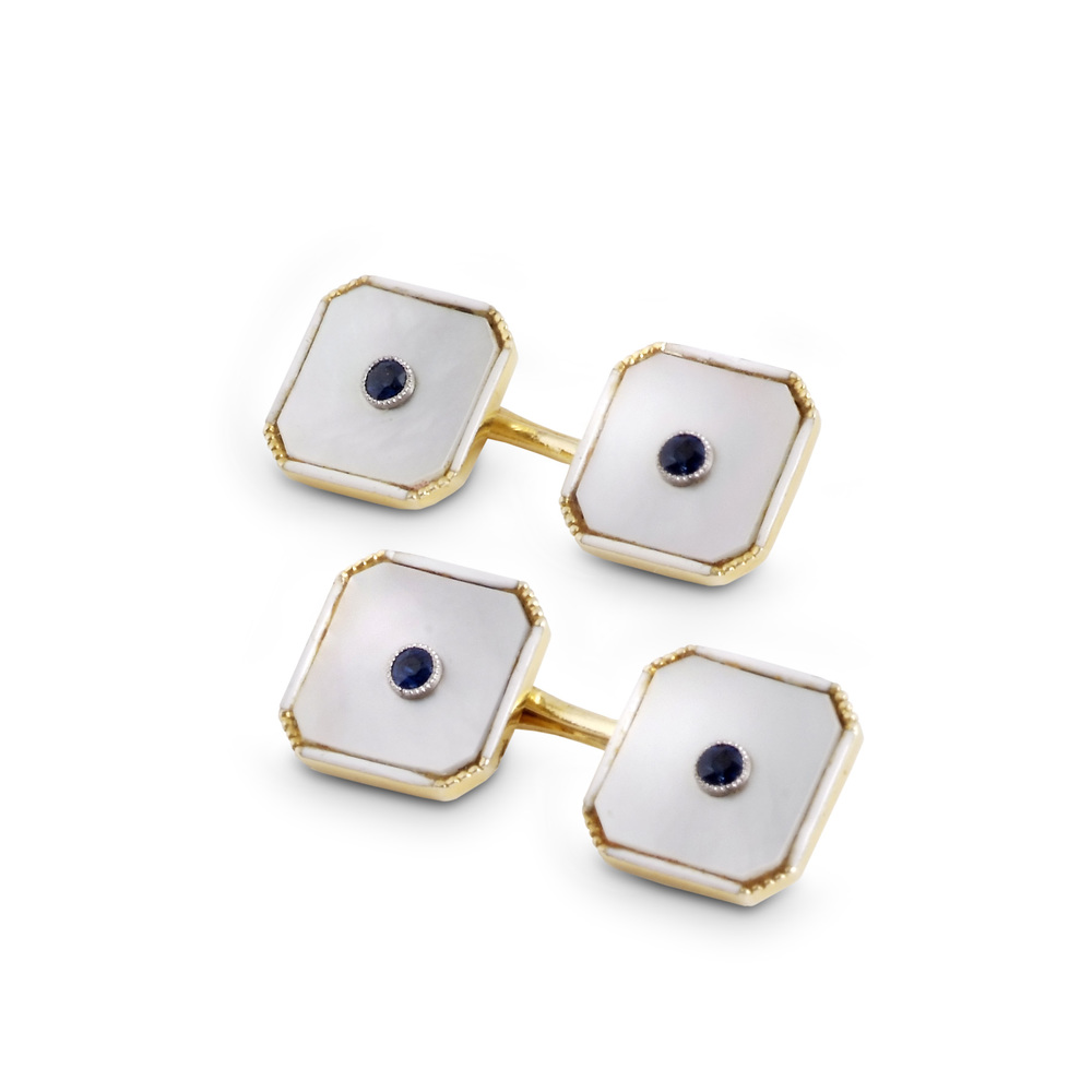 mother of pearl and enamel cut-cornered cufflinks