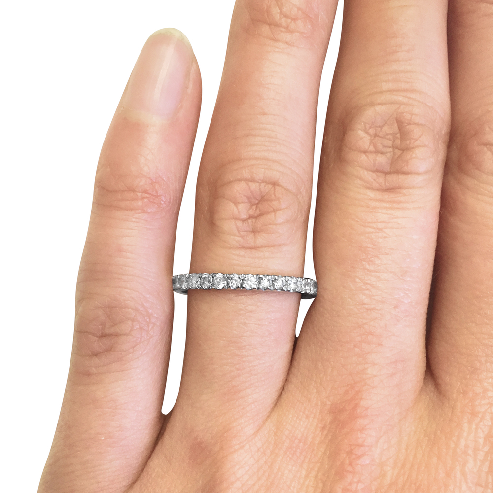 Brilliant-cut diamond full eternity ring hand shot