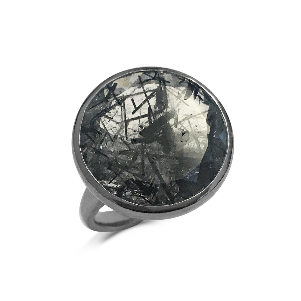Sagenitic quartz satellite ring top view