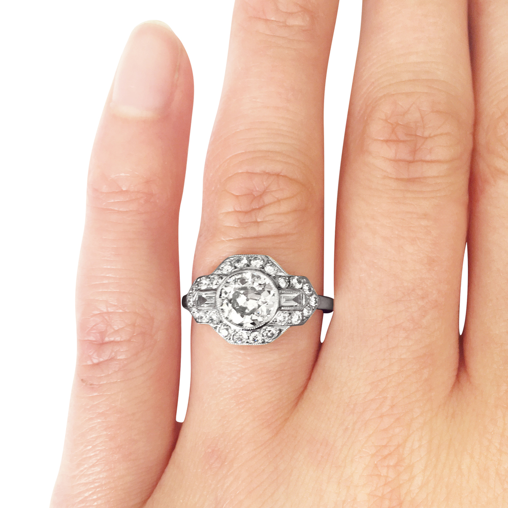 transitional & baguette-cut diamond ring hand shot
