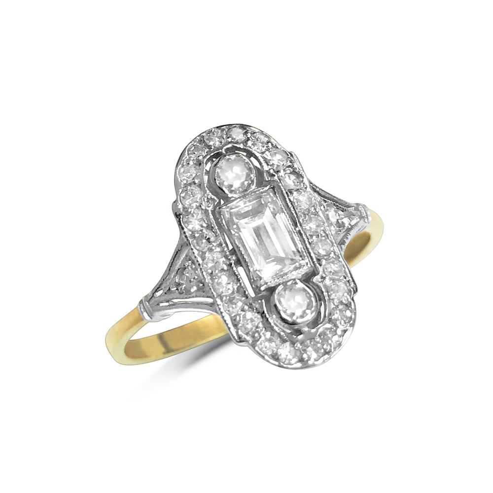 antique-style baguette and brilliant-cut diamond panel ring front