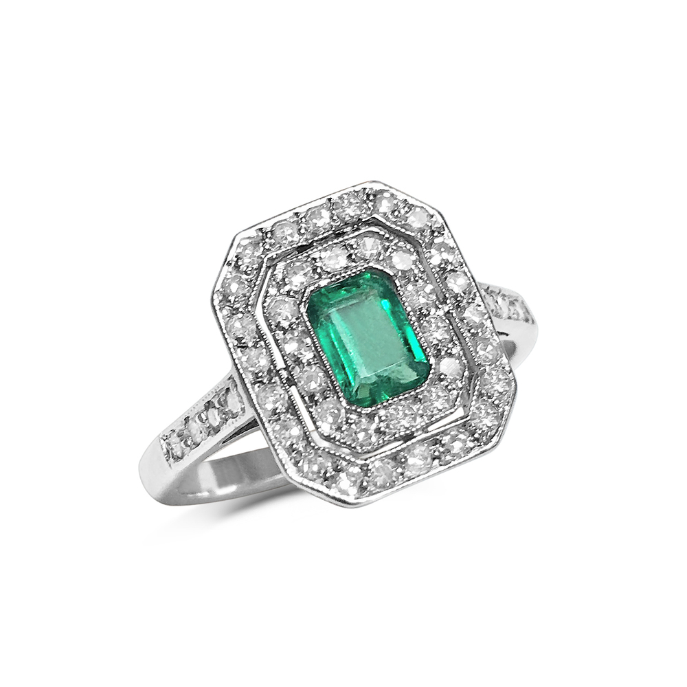 emerald and diamond two-row ring front
