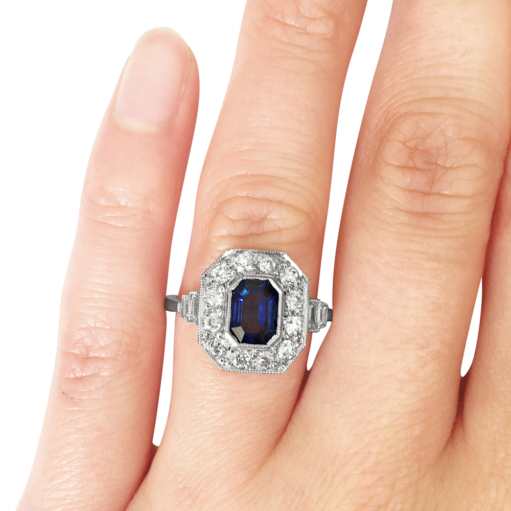 Sapphire & diamond cut-cornered ring