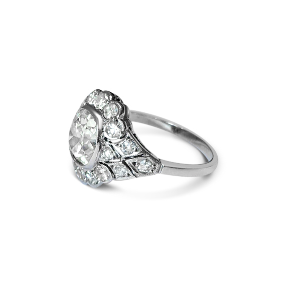 cushion-cut diamond ring side view
