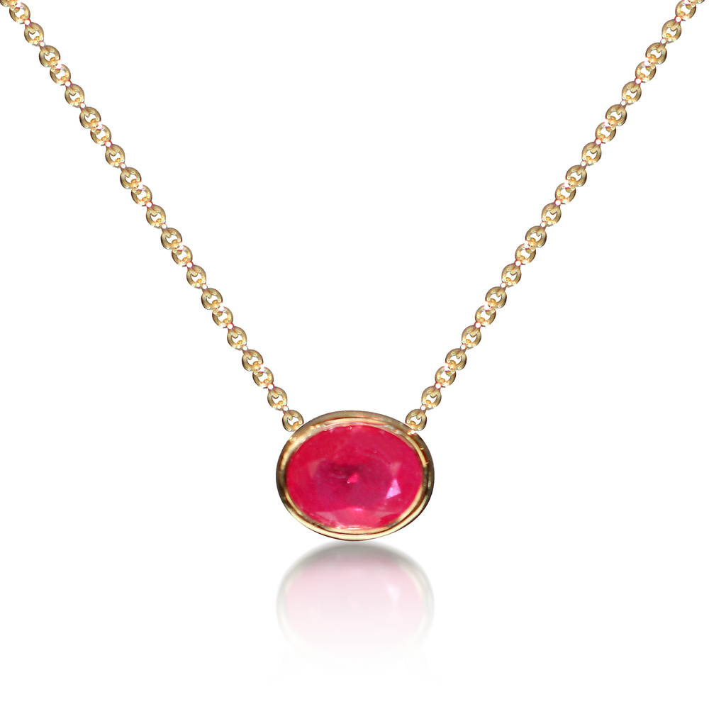 Ruby single stone necklace