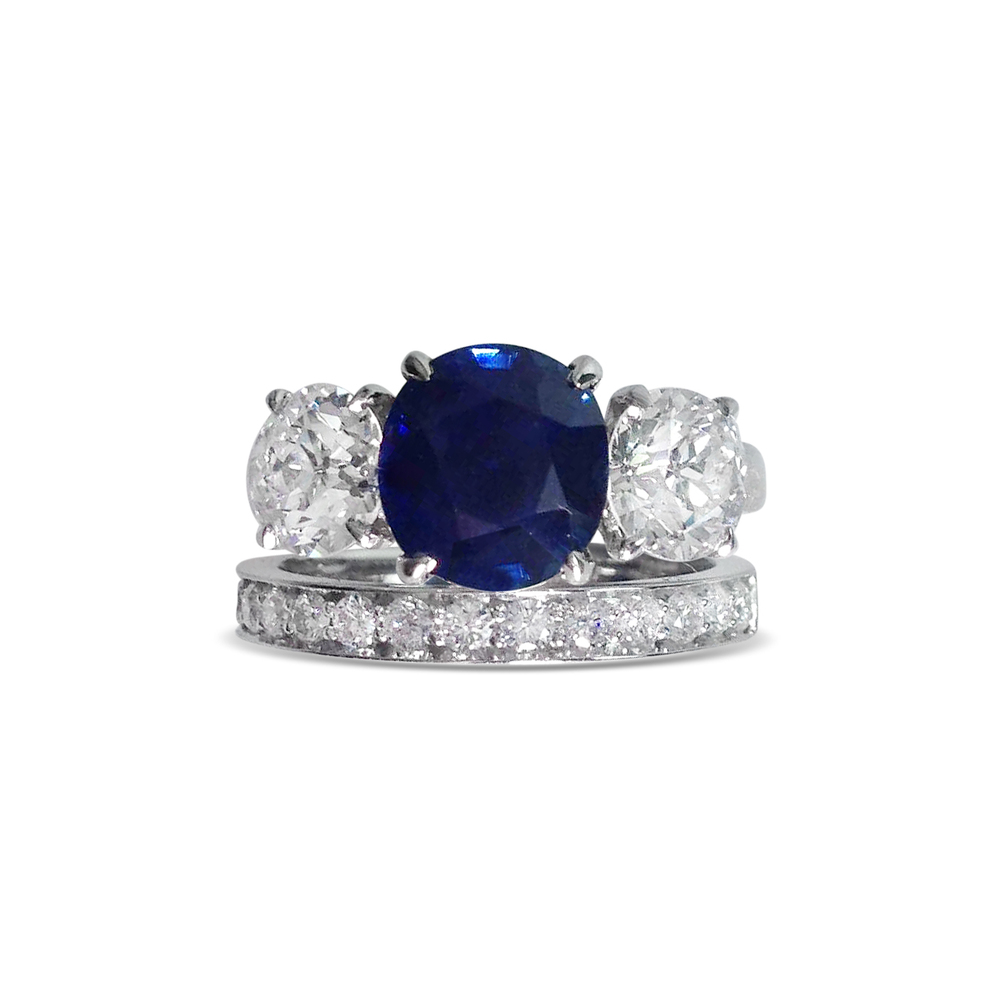 Sapphire & diamond ring & wedding band