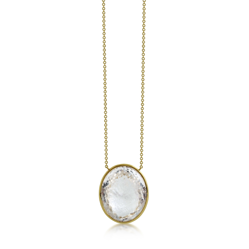 Oval Rock Crystal Satellite Pendant
