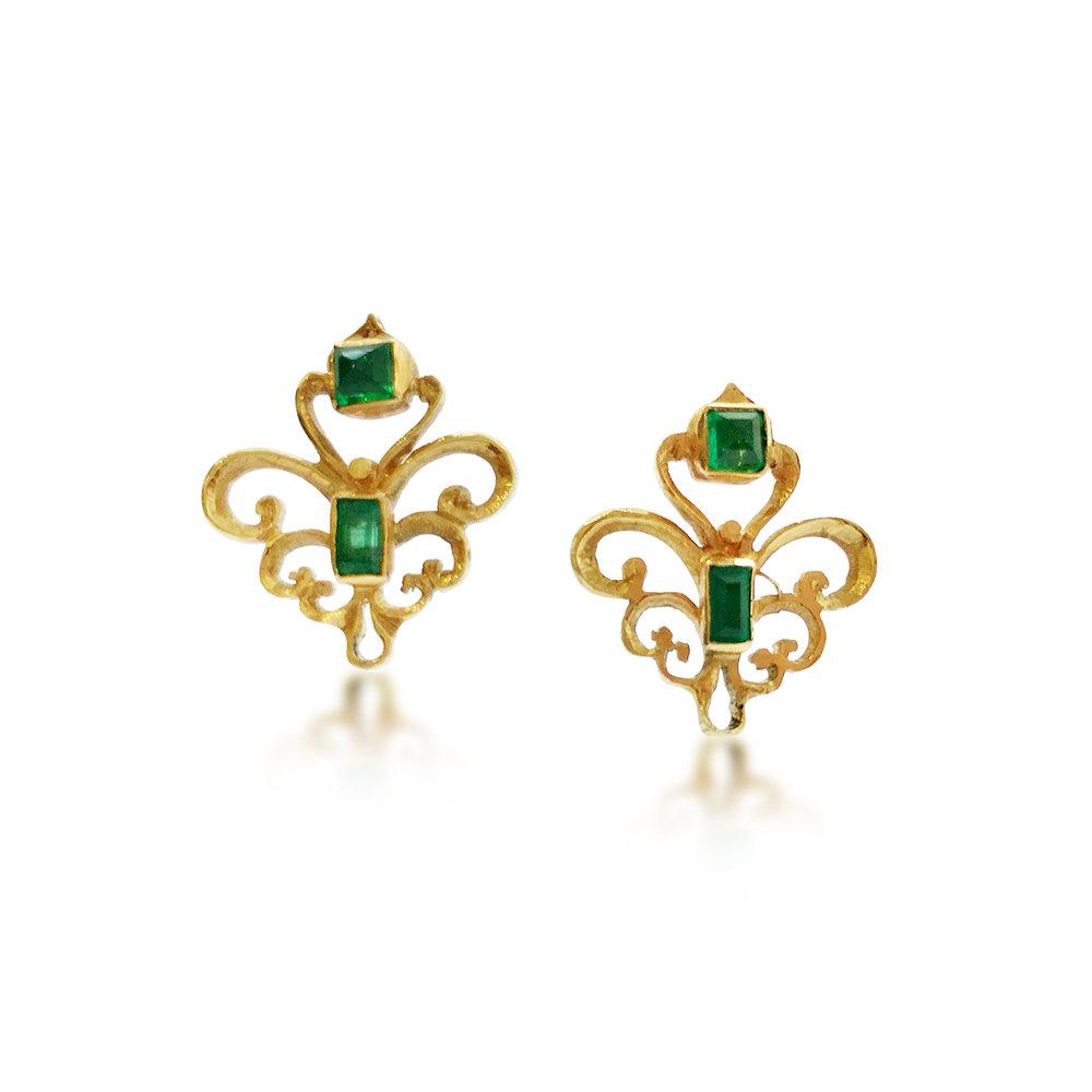 Emerald & gold scroll earrings