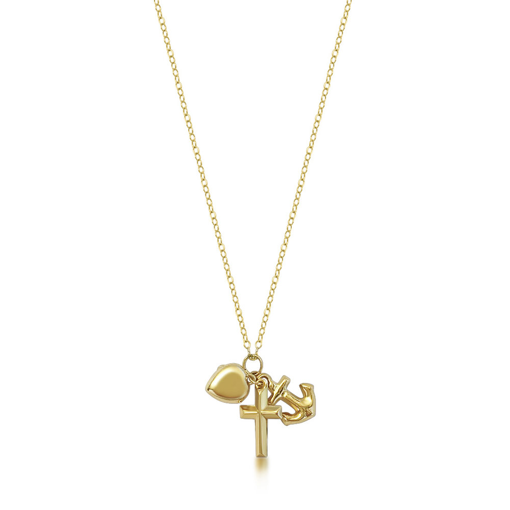 Vintage gold anchor, hear & cross charm pendant