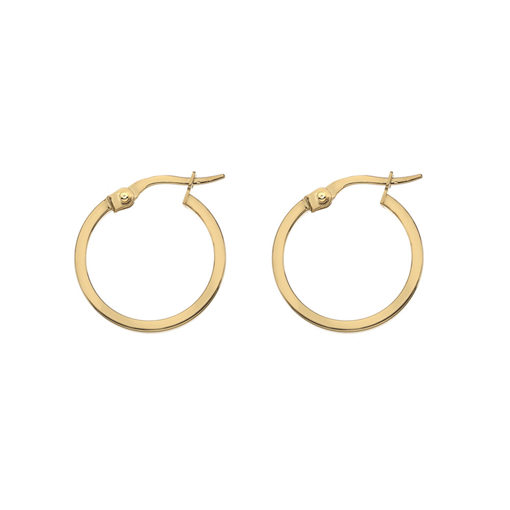 Medium yellow gold square wire hoop earrings