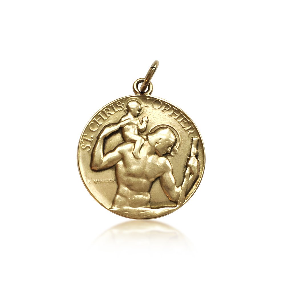 Vintage gold st christopher's charm