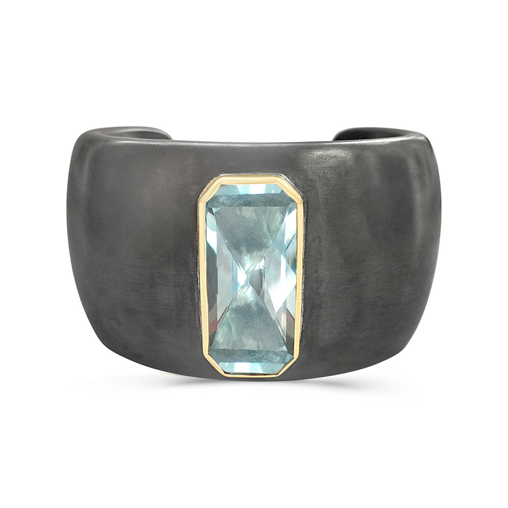 Blue topaz and Blackened Silver Cuff