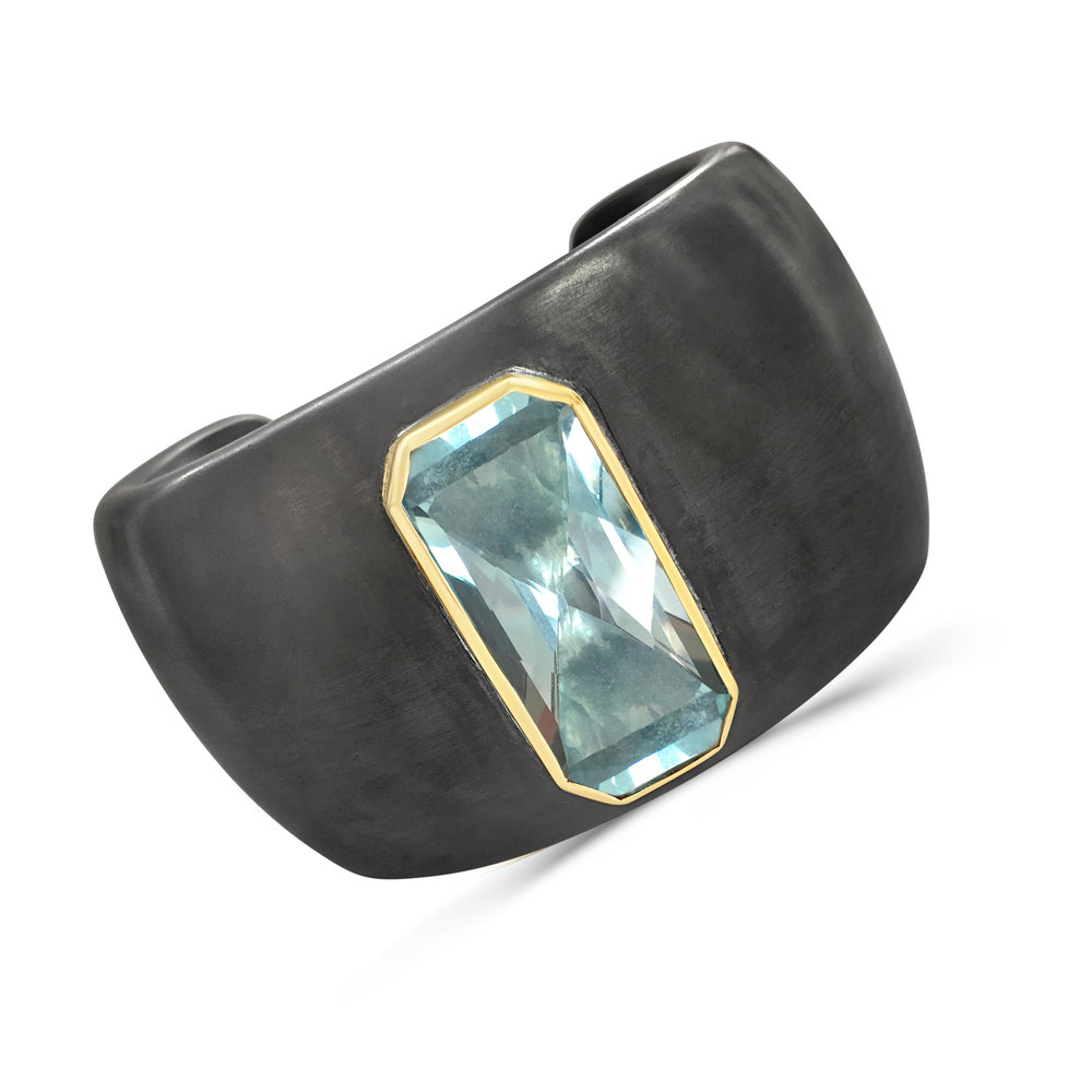 Blue Topaz And Blackened Silver Cuff Main View