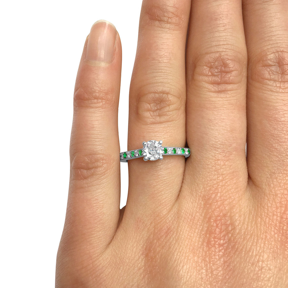Diamond & Emerald Solitaire Engagement Ring Hand Modelled