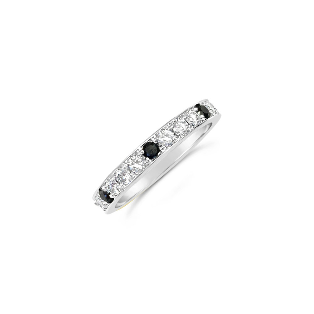 Black and white diamond wedding ring