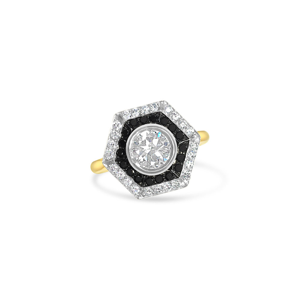 Bespoke Hexagonal Black & White Diamond Ring Top