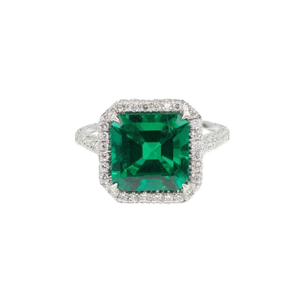 Emerald & Diamond Microset Ring Top View