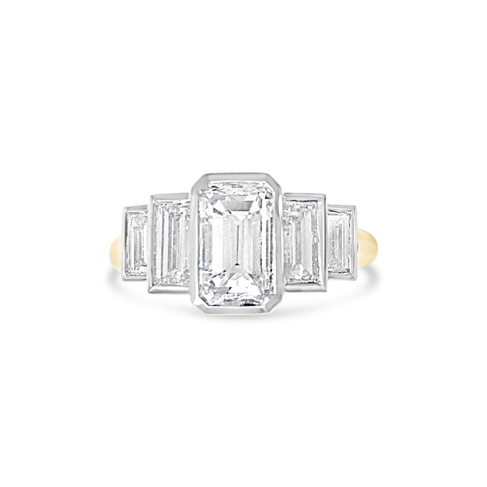 Bespoke emerald-cut diamond five-stone ring
