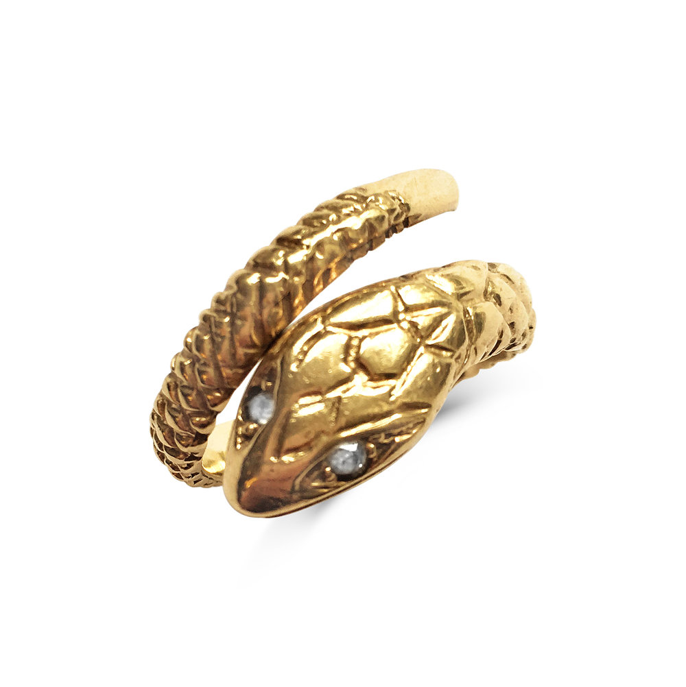 Vintage Gold Snake Ring Top