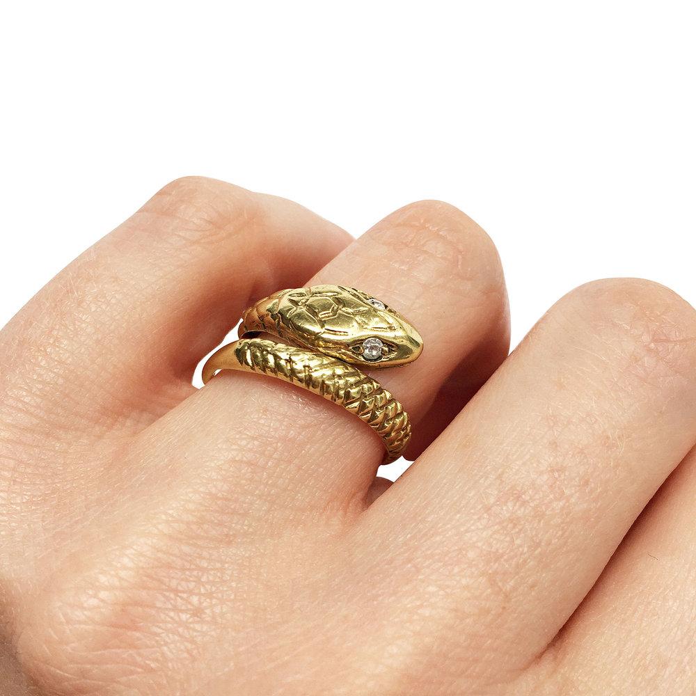 Vintage Gold Snake Ring Hand