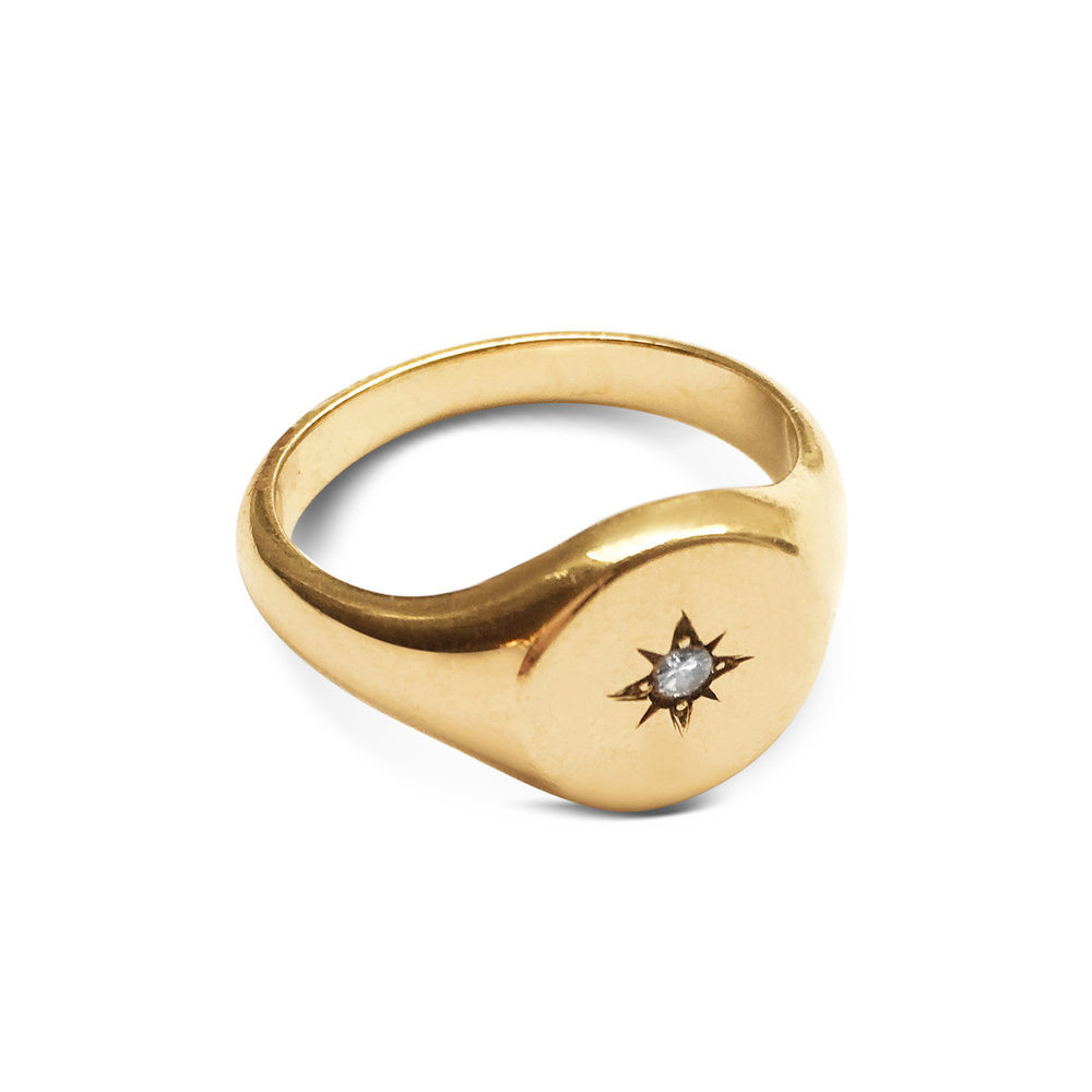 Vintage 9CT Yellow Gold Diamond-Set Star Signet Ring Side