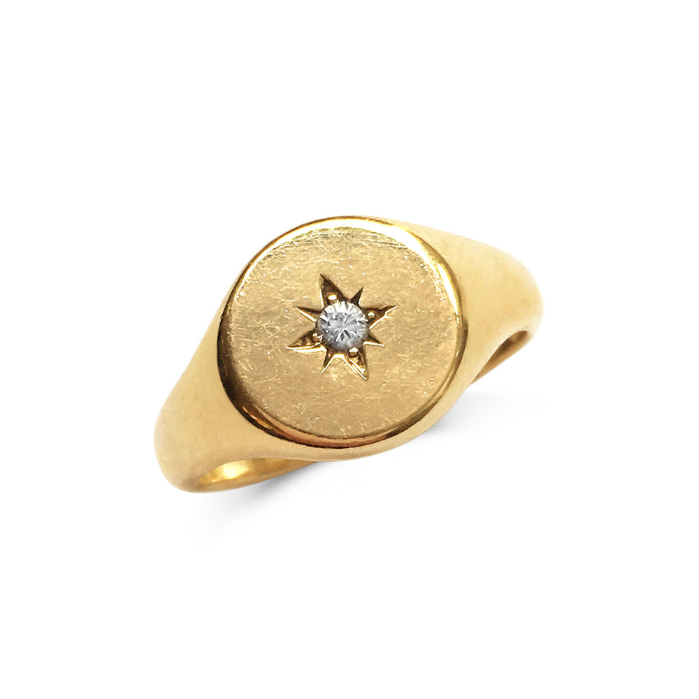 Vintage 9CT Yellow Gold Diamond-Set Star Signet Ring Top