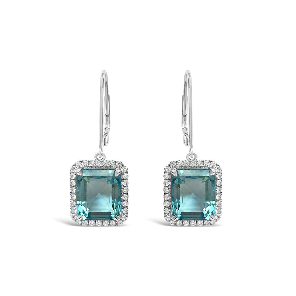 Aquamarine and diamond drop earrings straight view