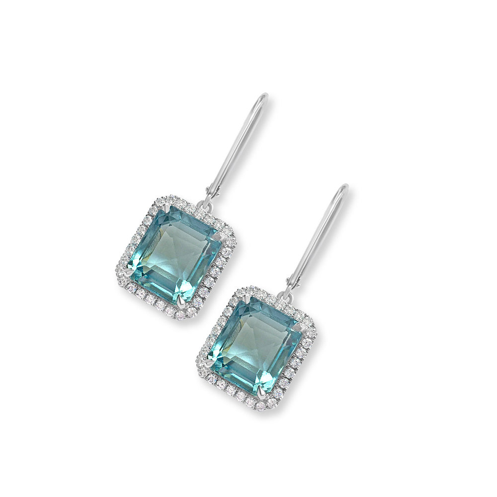 Aquamarine and diamond drop earrings top view