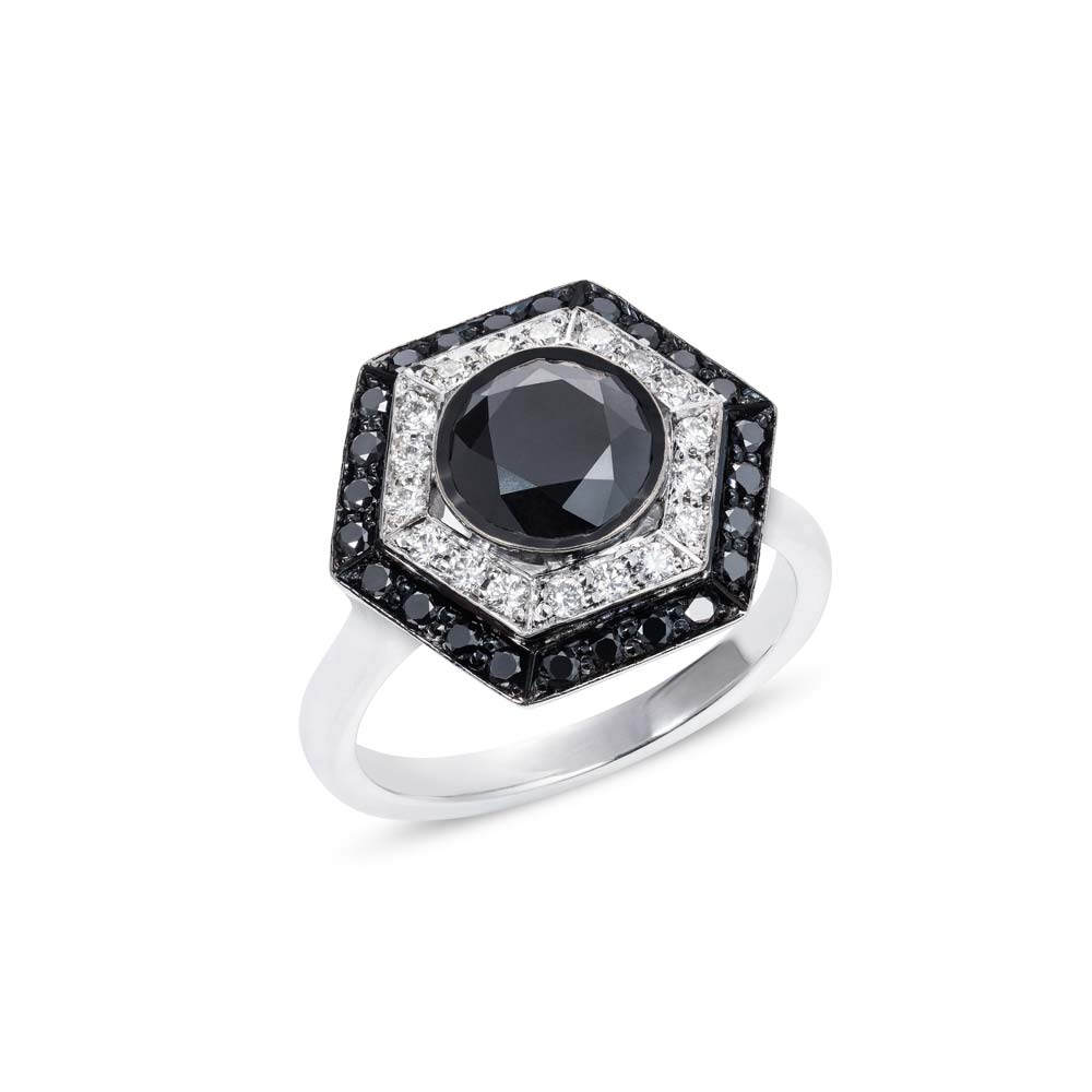 Black & White Diamond Target Ring