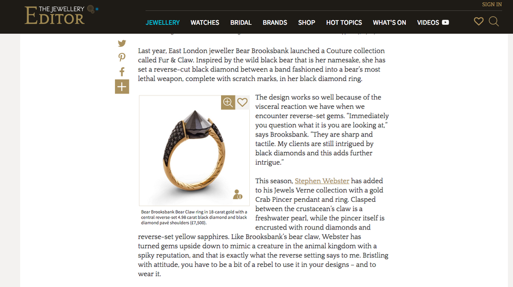 The Jewellery Editor, Reverse-set gemstones article