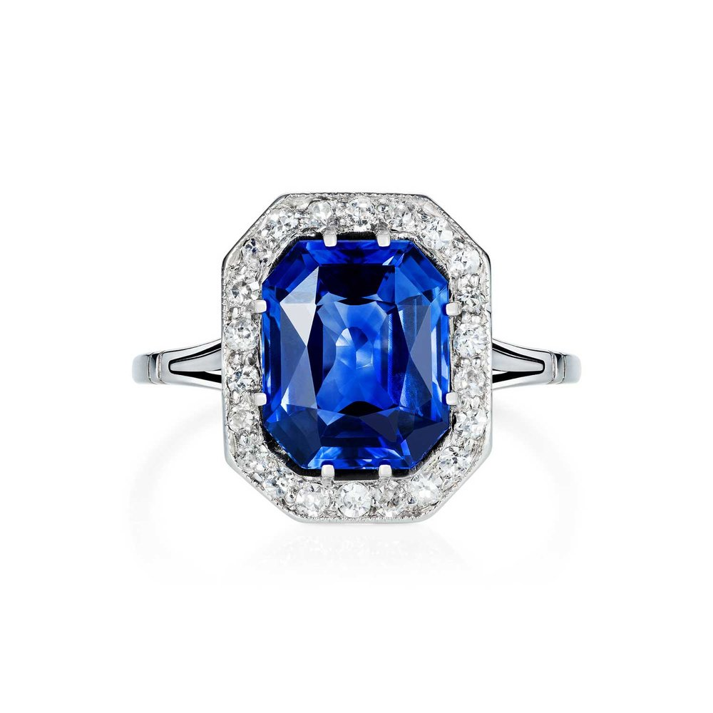 Art Deco sapphire and diamond ring top