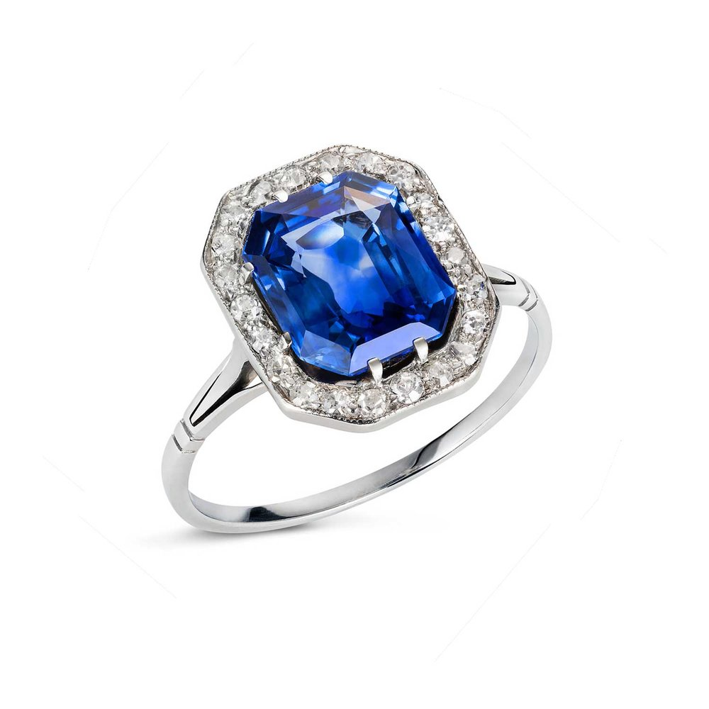 Art Deco sapphire and diamond ring angle