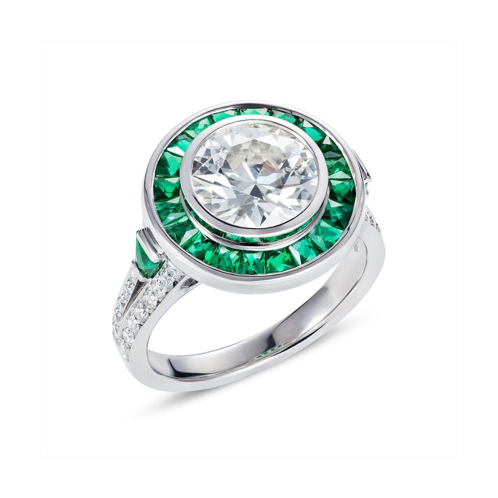 Emerald and diamond target ring